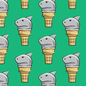shark ice cream cones - green  - LAD19