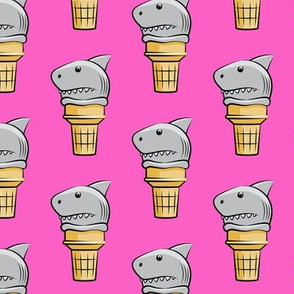 shark ice cream cones - dark pink  - LAD19