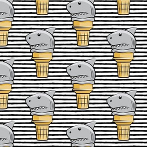 shark ice cream cones - black stripes  - LAD19