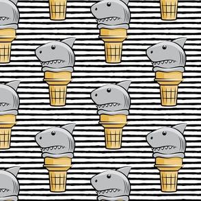 shark ice cream cones - black stripes  - LAD19