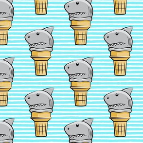 shark ice cream cones - light blue stripes - LAD19
