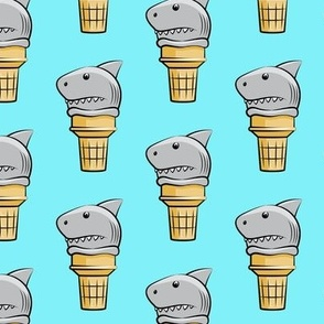 shark ice cream cones - light blue  - LAD19