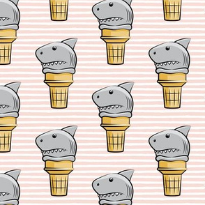 shark ice cream cones - pink stripes  - LAD19