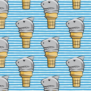 shark ice cream cones - blue stripes  - LAD19