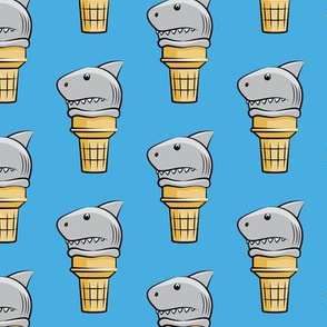 shark ice cream cones - blue  - LAD19