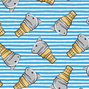 shark ice cream cones - toss on blue stripes - LAD19