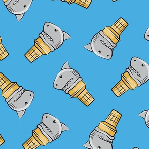 shark ice cream cones - toss on blue - LAD19