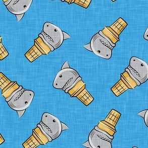 shark ice cream cones - toss on blue linen  - LAD19