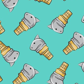 shark ice cream cones - toss on teal - LAD19
