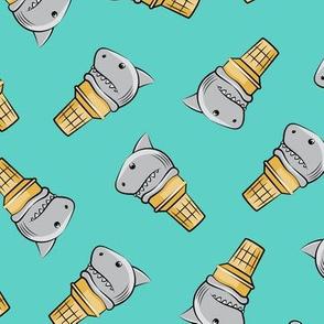 shark ice cream cones - toss on teal - LAD19