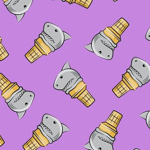 shark ice cream cones - toss on purple - LAD19