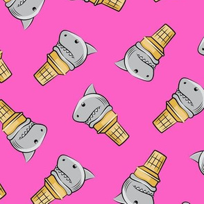 shark ice cream cones - toss on pink - LAD19