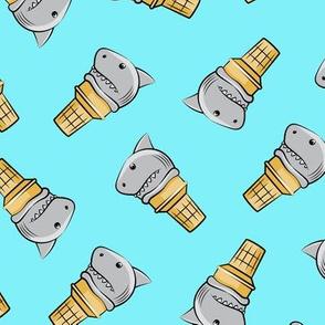 shark ice cream cones - toss on light blue - LAD19