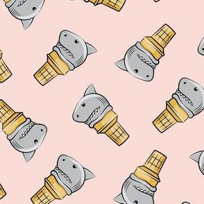 shark ice cream cones - toss on pink - LAD19