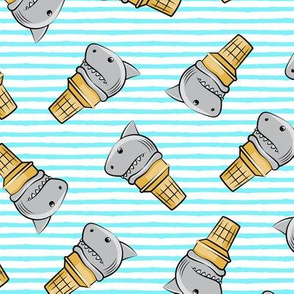 shark ice cream cones - toss on light blue stripes - LAD19