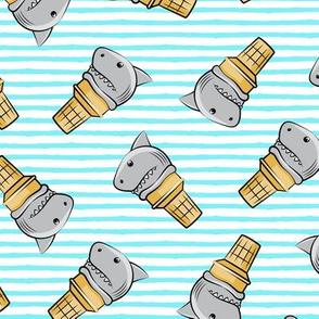 shark ice cream cones - toss on light blue stripes - LAD19
