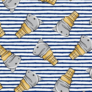 shark ice cream cones - toss on dark blue stripes - LAD19