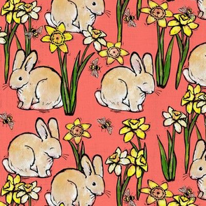 bunny bee + daffodil: living coral
