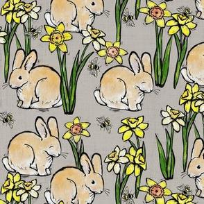 bunny bee + daffodil: grey linen