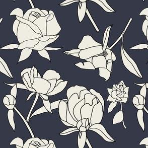Roses in Cream and Black