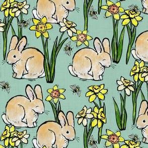 bunny bee + daffodil: spring blue