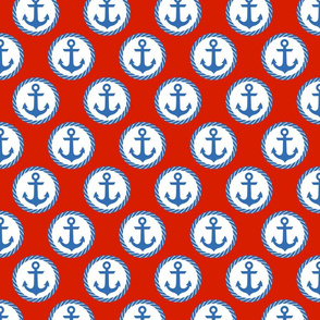 Ship Ahoy Anchors on Red