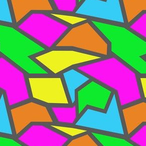 neon coloured shapes