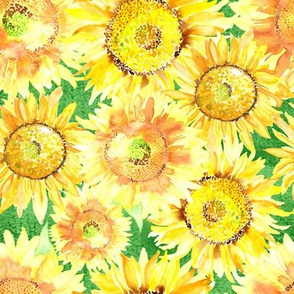 19-03E Sunflower Floral Kelly Green