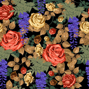 Capricious Garden of Roses and Wisteria