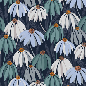 Summer garden on navy /scale/