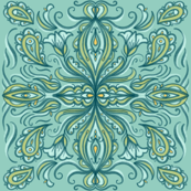 Teal and Green Hand Drawn Boho Pattern