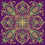 Purple and Green Decorative Boho Pattern