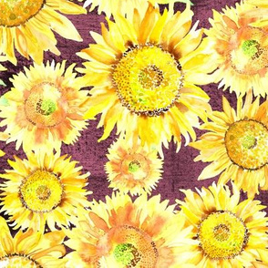 19-03C Sunflower Watercolor Floral Burgundy Wine
