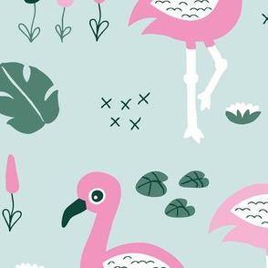 Flamingo love sweet jungle paradise and river summer print girls mint pink green JUMBO
