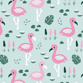 Flamingo love sweet jungle paradise and river summer print girlspink mint green