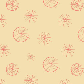 Spokes - coral on gold
