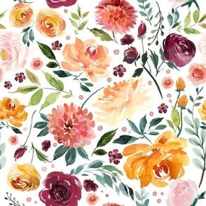 Orange burgundy floral