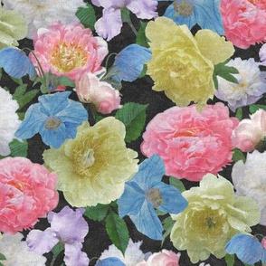 Moody Peonies Poppies and Iris Textured