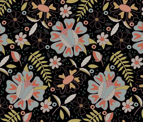 Moody Floral - Large - Blue fabric by fernlesliestudio on Spoonflower - custom fabric