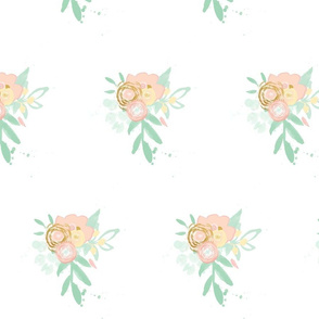 peach and gold floral