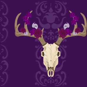 Deer Abby deer skull boho floral purple stripes