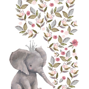"54""x72""  Baby Elephant with Crown / 1 print to 2 yards of minky"