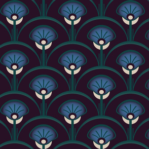 Dark abstract flower bed in maroon, blue and green