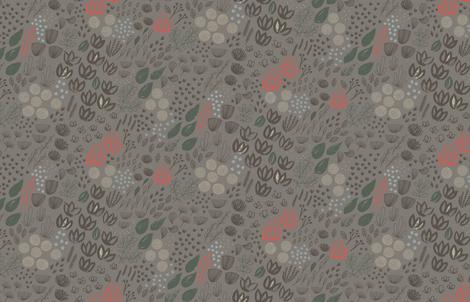 Mod Moody Floral M+M Ash77 Medium Scale by Friztin fabric by friztin on Spoonflower - custom fabric