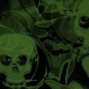 Haunted green skulls