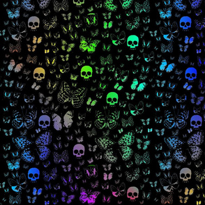 Rainbow Skulls and Butterflies