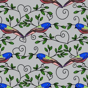 Painted Bunting Love /Grey / Bird & Heart Scrolls  small med or large