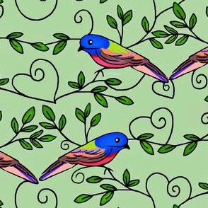 Painted Bunting Love / of the Cardinal Family of Birds / Soft Sage med