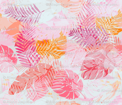 tropical palms - pink/orange small scale