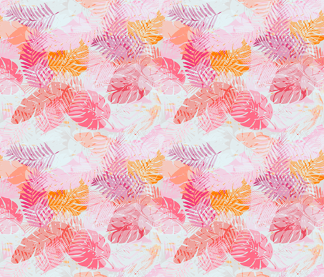 tropical palms - pink/orange small scale fabric by alison_janssen on Spoonflower - custom fabric